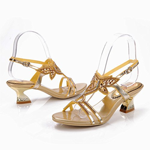 Doris Womens Evening Wedding Dress Shoes Glitter Rhinestone Iris Floral Heels Sandals Summer Fashion Slippers Gold
