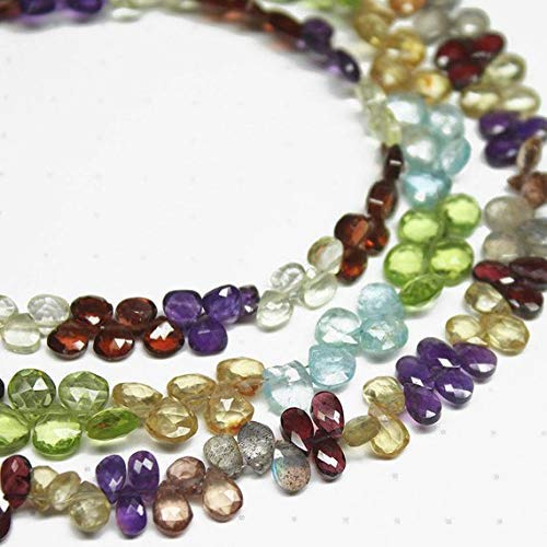 Natural Multi Stones Faceted Heart Drop Briolette Gemstone Craft Loose Beads Strand 8