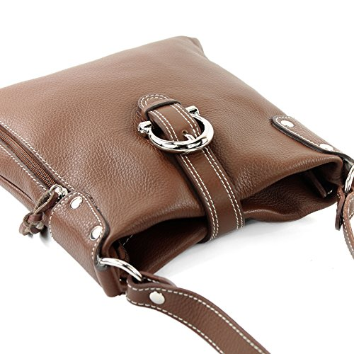 Shoulder Ital Modamoda T04 De Umhänge Leather Braun Bag f4xFwqR