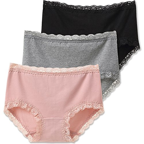 SIMIYA Womens Underwear, 3 Pack Lace Briefs Super Soft Cotton Hipster Panties,X-Large