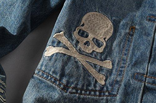 Pattern Style Unlined Blue Skull Jackets Men's Button Chouyatou Front Punk Trucker EqxB1YEw7