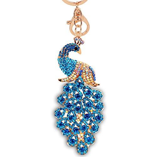 Majestic Peacock Sparkling Keychain Blingbling Crystal Handbag Charm for Feather Fans Key Chain Bird Animal Lovers Rhinestone Diamond Key Ring Holder Purse Bag Car Hanging Pendant Gift (Blue) ()