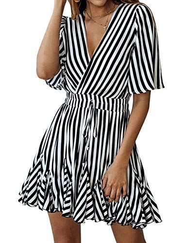 Simplee Women Sexy Deep V-Neck Short Sleeve Stripe Print Mini A Line Dress (8, - Womens Dress Handbag