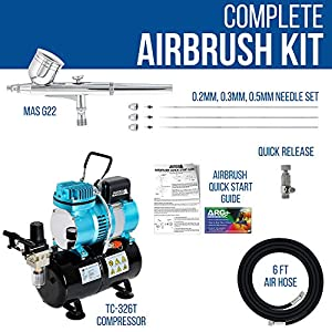 Master Airbrush Cool Runner II Dual Fan Air Tank Compressor System Kit with a Pro Set G222 Gravity Airbrush Kit with 3 Tips 0.2, 0.3 & 0.5 mm – Hose, Holder, How-to Guide – Hobby, Auto, Cake, Tattoo