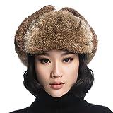 URSFUR Black Leather Rabbit Fur Aviator Hat