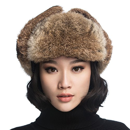 (URSFUR Black Leather Rabbit Fur Aviator Hat)