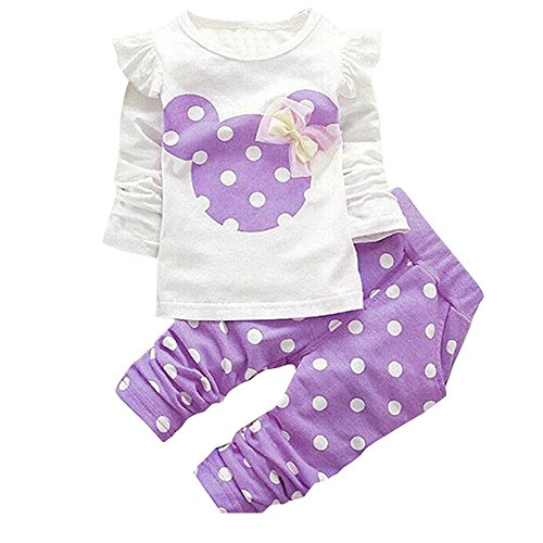 MH-Lucky Baby Girl Clothes Infant Outfits Set 2 Pieces With Long Sleeved Tops + Pants (18-24 Months, Purple)