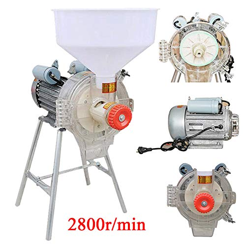 Electric 110V Commercial Grinder Wet&Dry Feed Mill Flour Grain Cereals Rice Corn Wheat with Funnel Heavy Duty Grinding Machine
