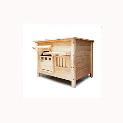 Puerta mediana con ventana exterior cubierta plana superior de carbón de madera casa de perro caseta