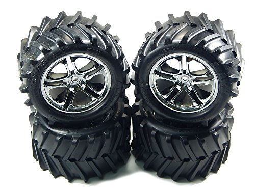 TRAXXAS EMAXX TMAXX CHROME WHEELS RIMS & MAXX TIRES 14MM HEX SET OF 4 5173 ()