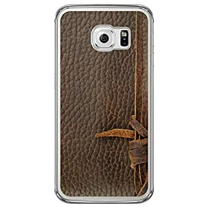 Loud Universe Samsung Galaxy S6 Edge Madala Wood n Leather 1 Printed Transparent Edge Case - Brown