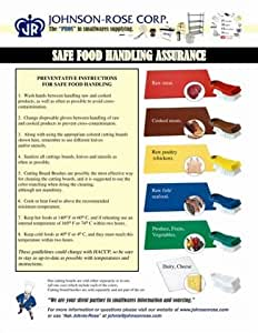 Johnson Rose Full Color Laminated Food Handling Chart, 8 1/2 x 11 inch -- 1 each.