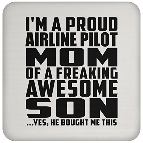 (Designsify Mom Coaster Proud Airline Pilot Mom of Awesome Son - Drink Coaster Non Slip Cork Back Protective Mat Best Gift for Mother Mom Mum Mommy from Son Kid)