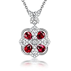 White Gold Red Ruby Diamond Pendant