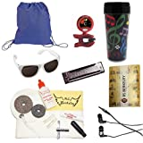 Band Camp Survival Pack for Drummers - Includes: Drawstring Backpack, Drum Care Cleaning & Maintenance Kit, Music Note Travel Tumbler, Sunglasses, Band Folder, Tuner/Metronome, Bonfire Harmonica & Earbuds