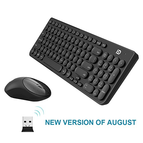 Wireless Keyboard and Mouse Combo, FD iK6630 2.4GHz Cordless Cute Round Key Set Smart Power-Saving Whisper-Quiet Slim Combo for Laptop, Computer and Mac (Black)