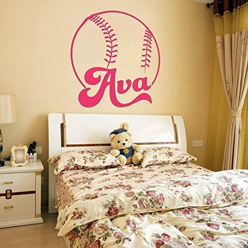 Softball Custom Name Vinyl Wall Decal Sticker for Girls