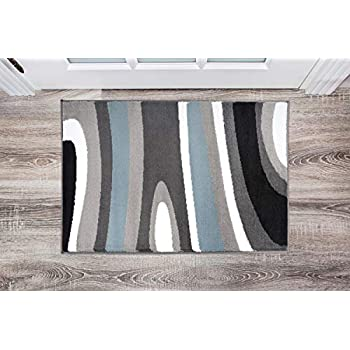 Abstract Contemporary Modern Blue Area Rug 2' x 3'