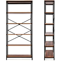 Ferty 5-Tier Bookshelf, Multipurpose Vintage Style Wood Bookcase Display Storage Shelves for Home Office
