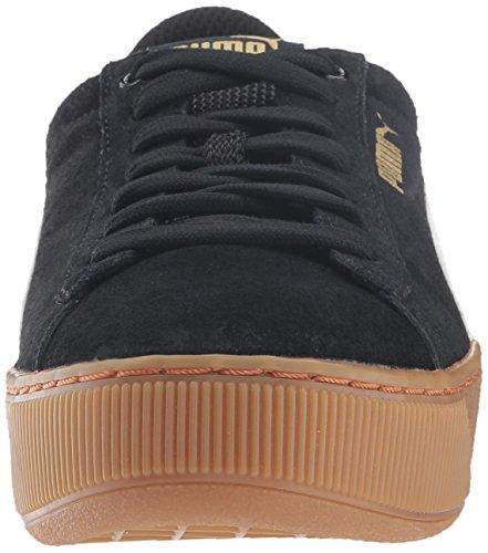 PUMA Frauen Vikky Plattform Fashion Sneaker Puma Schwarz-Puma Weißmetallic Gold