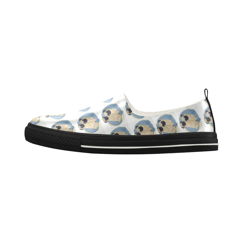 HUANGDAISY Loafer Pugs Couple Slip-on Microfiber Mens Shoes