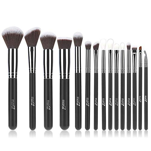 15pcs Professional Cosmetic Brushes with Soft Natural/Synthetic Hair, Wood Handle for Foundation, Powder, BB Cream, Eyeliner, Concealer(without bag) ()
