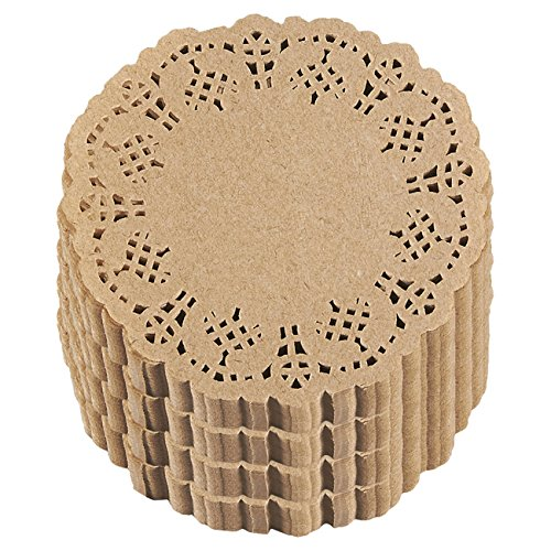 Lace Paper Doilies - 1000-Pack Round Decorative Paper Placemats Bulk for Cakes, Desserts, Baked Treat Display, Ideal for Weddings, Formal Event Tableware Decoration - Brown, 4 Inches in Diameter]()
