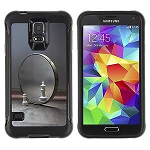 Suave TPU Caso Carcasa de Caucho Funda para Samsung Galaxy S5 SM-G900 / Mirror Chess Cat Lion Symbol View Yourself / STRONG