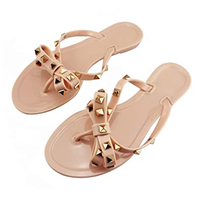 ca848c19a Utop Women s Rivets Bowtie Flip Flops Jelly Thong Sandal Summer Beach Rain  Shoes (US5.