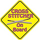 5x5 Cross Stitcher On Board Sticker Bumper Decal - by StickerTalk