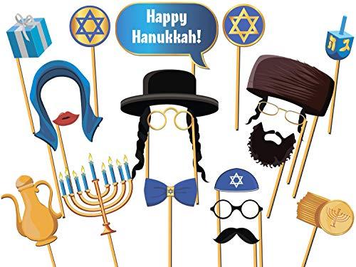 speedy orders Jewish Hanukkah Photo Booth Prop Size 36x24, Happy Hanukkah, Party Photo Props, Holiday Season Photo Booth Props, Beard Hat Mustache Photo Props, Star of David Decor ()