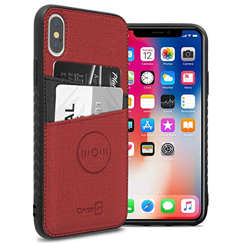 CoverON iPhone Xs Max Magnetic Wallet Case, EDC Series Slim Fit Wallet Phone Case with Magnetic Car Mount Compatible Plate and Credit Card Holder Slots for iPhone Xs Max - Red