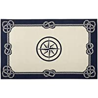 Nautical Rope Bordered Compass Indoor/outdoor Accent Rug Tributary 20 x 30