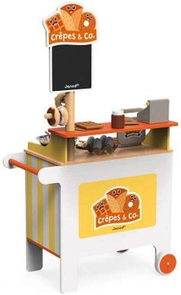 Janod Crepes & Co Waffle Wooden Food Vendor Cart Stand Playset Toy with 40 Accessories for Imagination Play for Ages 3+