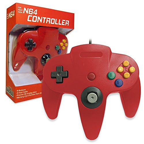 Old Skool Classic Wired Controller Joystick for Nintendo 64 N64 Game System - Red
