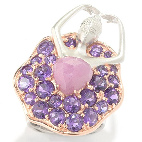 Michael Valitutti Palladium Silver Pink Sapphire Heart and African Amethyst Ballerina Ring