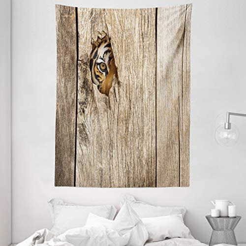 Ambesonne Safari Tapestry, Siberian Tiger Eye Looking Through Wooden Peep Hole in Spy Predator Big Cat Wild Print, Wall Hanging for Bedroom Living Room Dorm, 60 X 80 , Brown Cream
