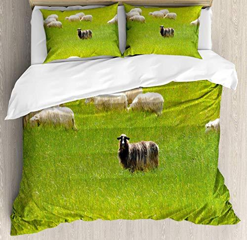 (Nature Bedding Duvet Cover Set, Black Sheep Between White Goats on Grass Field Meadow Animal Farm Landscape, Decorative 3 Piece Bedding Set with 2 Pillow Shams, Fern Green Cream)