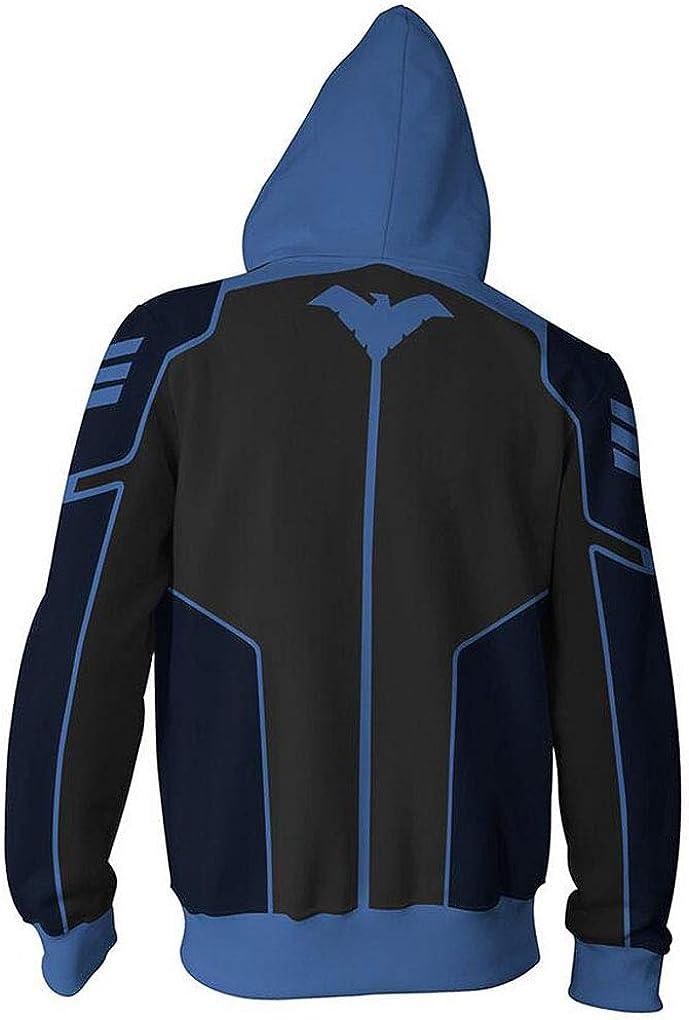 Batman Superhero Nightwing Hoodie Sweatshirt Cosplay Costume Zipper Coat Jacket