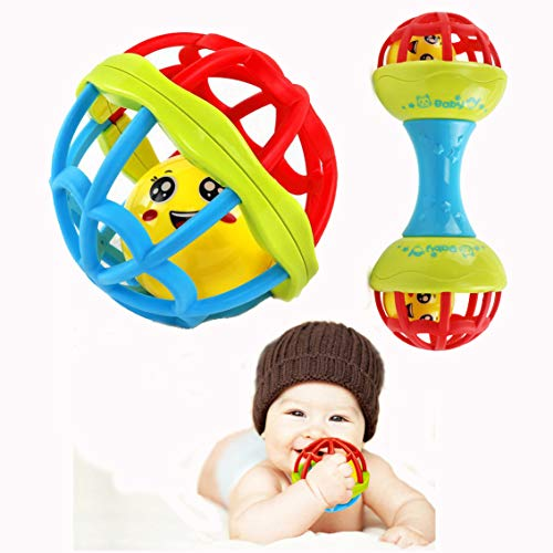 Mincy 2 Pcs Baby Safe Silicon Teething Round Rattle and Dumbbell Ball Rattle with Built-in Jingle Ball Set, Baby Educational Toys Hand Catch Fitness Ball Toy for Newborn, Infant, Child