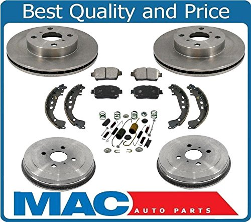 04-06 Scion Xa Xb Front Brake Rotors & Ceramic Brake Disc Pads Drums Shoes 7Pc