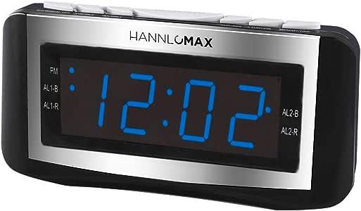 HANNLOMAX HX-117CR Alarm Clock Radio, PLL AM/FM Radio, Blue LED 1.2 Inches Display, Dual Alarms, Alarm Wake Up to Radio or Buzzer