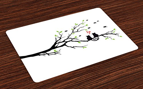 Lunarable Cat Lover Place Mats Set of 4, Cats in Love on Tree Branch with Flying Birds Nature Romance Illustration, Washable Fabric Placemats for Dining Room Kitchen Table Decor, Lime Green