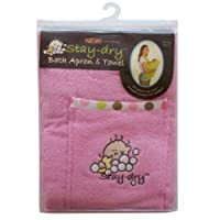 Stay-Dry Bath Apron and Towel, Pink