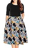 Nemidor Women's Floral Print Vintage Style Plus Size Swing Casual Party Dress (24, Black+Yellow)