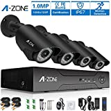 A-ZONE 4 Channel Security Camera System Full 1080P DVR with 4x 720P(1280x720) Superior Night Vision IR Cut Leds outdoor/indoor CCTV Camera(Without Hard Drive)