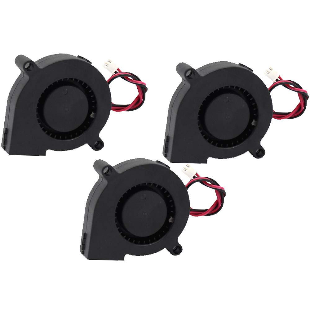 Brushless Turbo Cooling Fan 5cm 50mm 50mm x 50mm x 15mm with 2Pin XH2.54 Wire for 3D Printer Extruder Hotend Parts 3 Pack 12V DC 0.1A 5015 Blower Fan