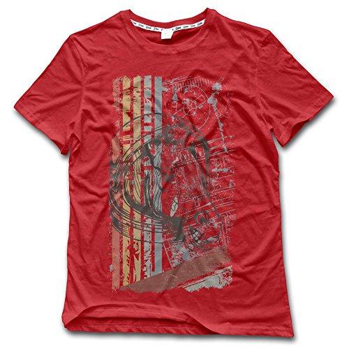 Aiguan Cool Horse Mens Short Sleeve Summer T-Shirt Red S