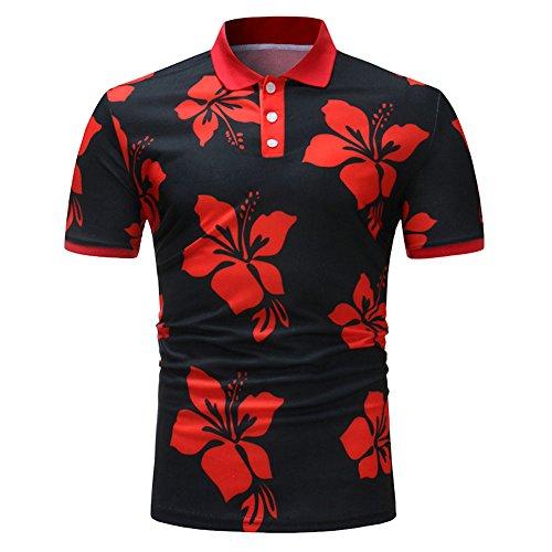 (Sunhusing Mens Floral Print Buttons-Down Design Tops Tee Stitching Short Sleeve T Shirt)