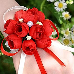 Artificial Dried Flowers - Wedding Party Delicate Fake Rose Wrist Corsage Bracelet Romantic Color Bridesmaid Sisters Hand - Flowers Artificial Dried Artificial Dried Flowers Corsag Wrist 30